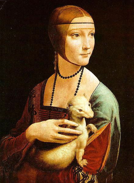 La dama del armiño, obra de Leonardo da Vinci (1490). Fundación Príncipes de Czartoryski, Cracovia.