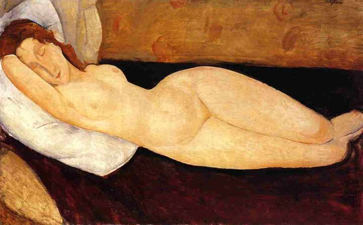 Amedeo-Modigliani-Reclining-Nude-Head-Resting-on-Right-Arm-also-known-as-Nude-on-a-Couch-
