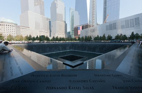 12 Sep 2011, Manhattan, New York City, New York State, USA --- The South Pool with some of the names of those who perished on 9/11. -- The National September 11th Memorial opened to the general public for the first time, just one day after the 10th anniversary of the terrorist attacks on the USA. New York City, USA. 12th September 2011 --- Image by © Clarence Holmes / Demotix/Demotix/Corbis