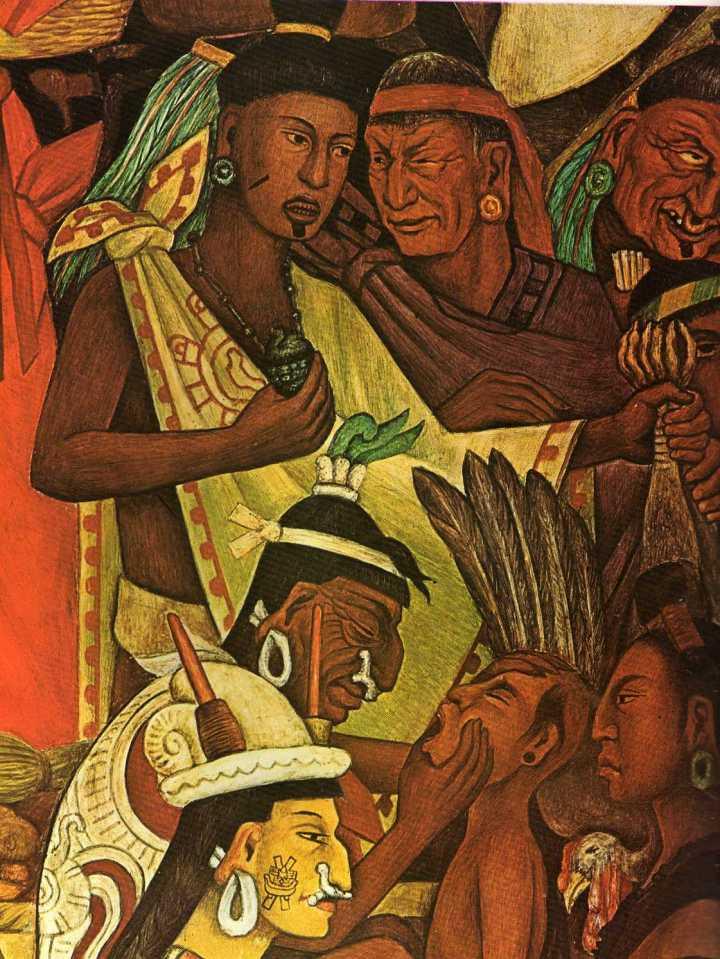Detalle de Tianguis en Tenochtitlán - Fresco sobre muro de Diego Rivera