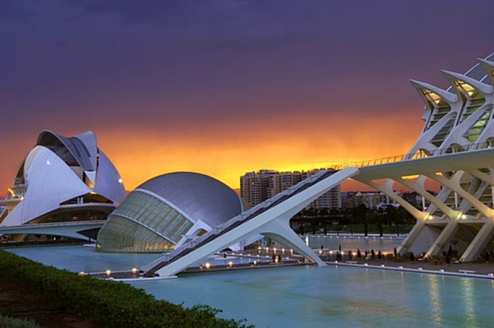 Spain, Valencia, the City of Arts and Sciences by architect Santiago Calatrava