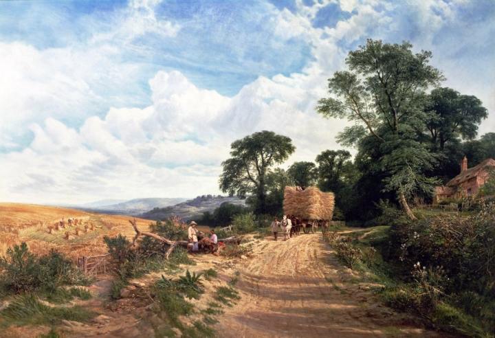 george-vicat-cole-landscape-harvest-time
